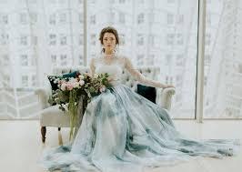 wedding dress blue a blue watercolor wedding dress green wedding shoes