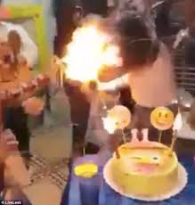 birthday set on fire by silly string daily mail online