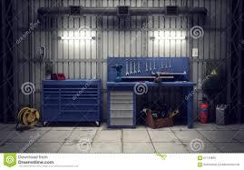 garage workshop 3d rendering stock illustration image 61740809