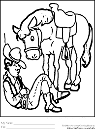 sleeping cowboy coloring pages horse ginormasource kids