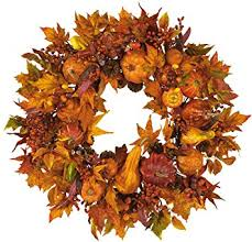 thanksgiving reefs nearly 4648 harvest wreath fall 28 inch gold