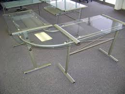 Modern Glass Top Desk Glass L Shaped Desk Style Thedigitalhandshake Furniture