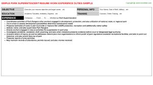 Superintendent Resume Sample by Park Superintendent Resume Sample