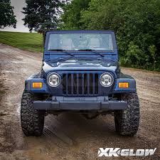 chrome land rover xkglow 7in led headlight with black chrome front face for jeep