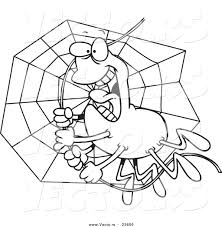 vector of a cartoon spider swinging on silk coloring page