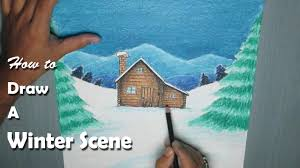 how to paint a winter night scene with oil pastel youtube