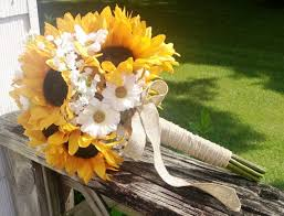 Sunflower Wedding Bouquet Sunflower Bridal Bouquet Sunflower Bouquet By Silkflowersbyjean