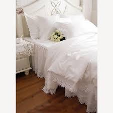 shabby and elegant white cutwork lace duvet cover bedding set