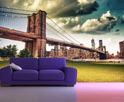 peel and stick photo wall mural decor wallpapers brooklyn bridge