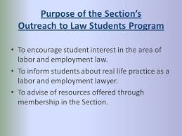 sections in law aba section of labor employment law the section outreach to