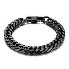 mens black link bracelet images Durable black stainless steel bracelet men heavy wide mens curb jpg