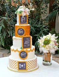 delectable cakes gold and white chalkboard wedding cake