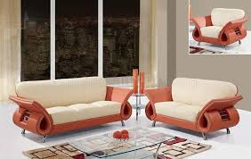 Beige Leather Living Room Set U559 Living Room Sofa Set In Beige Orange Leather By Global