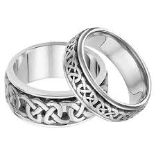 his and hers white gold wedding rings his and hers celtic wedding band set in 14k white gold