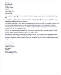 cover letter for social work job