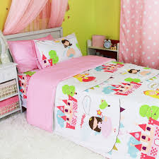 Discount Girls Bedding by Pink Blue And Green Princess Castle Pattern Cute Girls Style