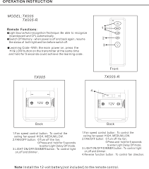 tx005r fan remote controler user manual users manual dawnsun