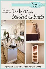 diy kitchen cabinets install how to install stacked cabinets builder s grade