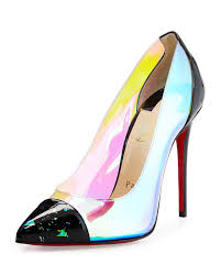 christian louboutin debout disco pvc red sole pump in red lyst