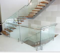 Stainless Steel Handrails For Stairs Decorative Handrail Railing For Indoor Removable Clear Glass Stair