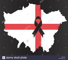 London Flag London Condolence Map Black Ribbon With The Flag Of England