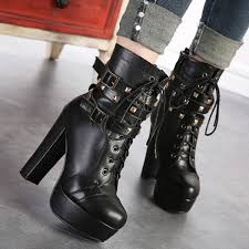s boots with buckles s black platform heels lace up chunky heels rivets buckle