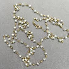 long yellow gold necklace images 3 4mm long fresh water pearl necklace 10k yellow gold small pearl jpg