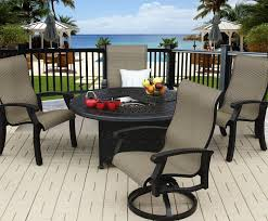 Sling Patio Dining Set - series 2000 cast aluminum barbados sling outdoor patio 5pc fire