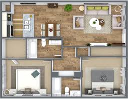 3d floor plan blue sketch