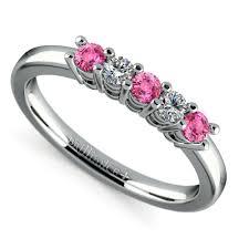 pink wedding rings five diamond pink sapphire wedding ring in platinum 1 3 ctw