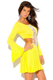 shop canary yellow crochet cut out backless bell sleeve boho