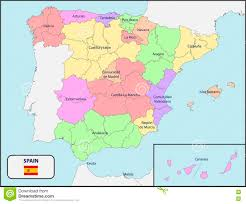 Map Spain Political Map Of Spain With Names Stock Vector Image 72742230