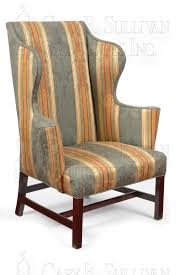 Antique Queen Anne Wing Back Chairs Furniture Queen Anne Wingback Chair In Gray With Brown Rim And