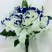 royal blue boutonniere white carnation w royal blue tip boutonniere rubrums florist