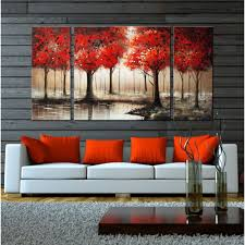 Living Room Art Paintings Through The Trees U0027 Hand Painted 3 Piece Gallery Wrapped Art Set By