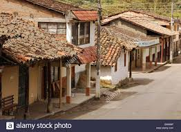 ecuador vilcabamba old one storey houses with tiled roof in a