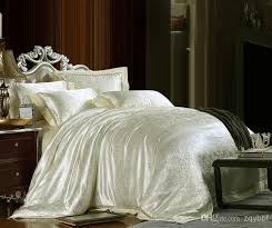 White Silk Bedding Sets 4cs Luxurious Jacquard Lace King Silk Bedding Set Duvet Covet Set