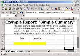 Microsoft Excel Report Templates Excel Reports With Apache Cocoon And Poi