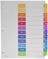avery 15 tab table of contents color template amazon com avery ready index table of contents dividers 12 tab