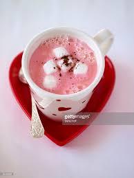 Heart Shaped Mug Pink Chocolate Cocoa In Heart Shaped Mug For V Stock Photo