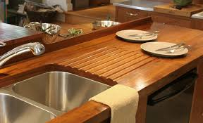 custom wood countertop options drainboards teak face grain countertop including an integrated sloping drainboard for an undermount sink