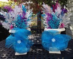 frozen foliage flower pot arrangements frozen theme birthday