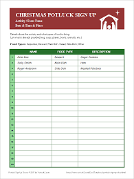 potluck sign up sheets for excel and google sheets in christmas