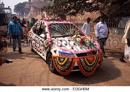 indian wedding car decoration decorated car with flowers for indian wedding stock photo
