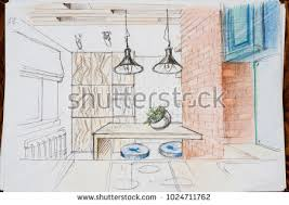 Kitchen Design Drawings Outline Drawings Design Kitchen Design Everything Stock Photo