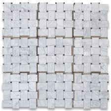 carrara white large basketweave mosaic tile w black dots honed