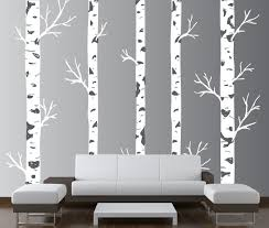 Woodland Forest Peel And Stick Large Wall Vinyl Tree Forest Decal Birch Woodland Nursery Sticker