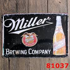 miller beer metal craft painting wall decor retro bar house tin