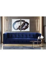 Navy Blue Tufted Sofa Grey Velvet Channel Tufted Back Seat Sofa