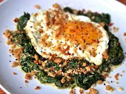 dinner egg recipes dinner tonight fried eggs with mustard creamed spinach and
